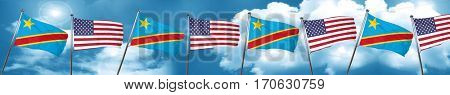 Democratic republic of the congo flag with American flag, 3D ren