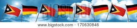east timor flag with Germany flag, 3D rendering