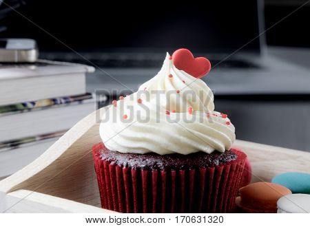 Valentines chocolate Cupcake romance on office table