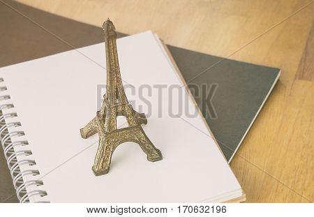 Paris France Diary notebook travel blogger concept