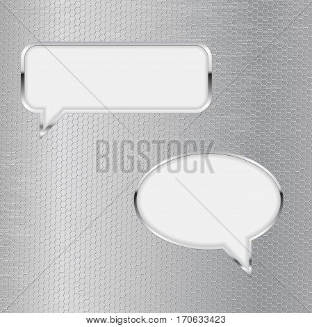 Speech bubbles. Communication symbol on metal perforated background. Vector illustration