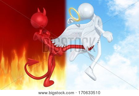 Devil Kicking An Angel The Original 3D Characters Illustration
