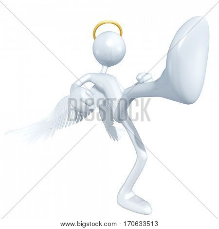 The Original 3D Character Illustration Angel  Kicking
