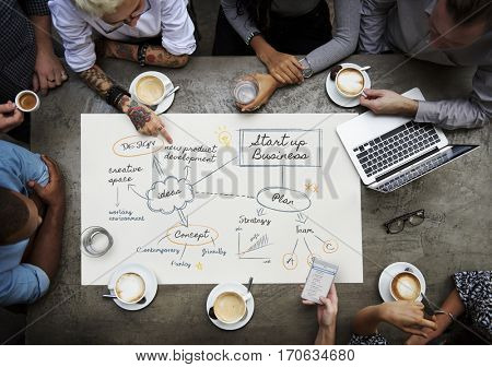 Group of business people meeting together