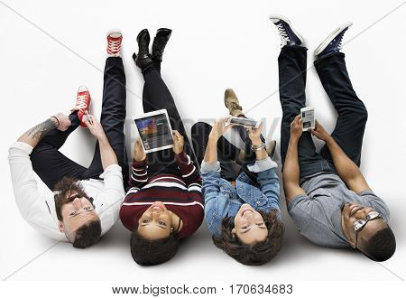 Top Down Shot People Using Technology Devices