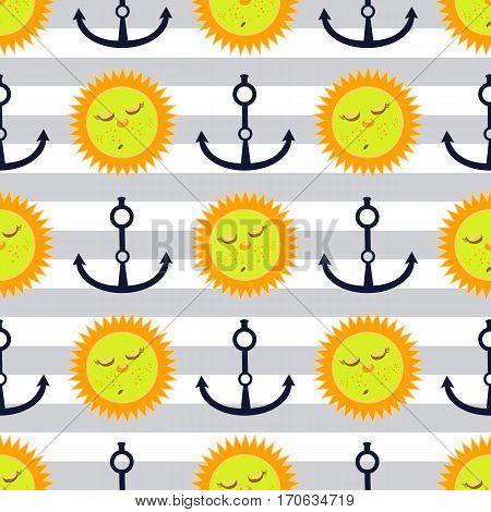 Anchor And Sun. Children S Illustration