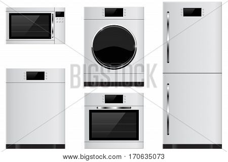 Household appliances - refrigerator, oven, microwave, dishwasher, washing machine. Vector illustration isolated on white background