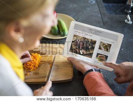 Senior Cooking Food Kitchen Tablet