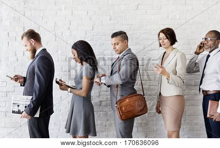 Business People Using Device Rush Hour Concept