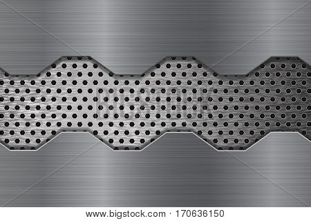 Metal brushed background with perforation. Vector illustration
