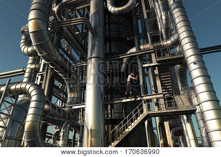 Tubes of factory in the sky.,3d render