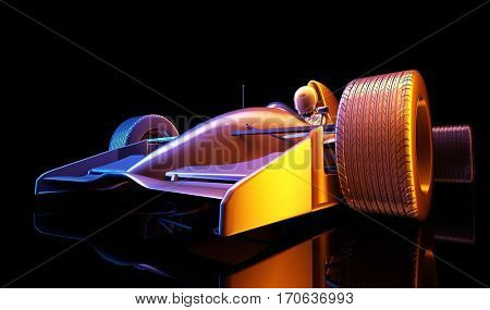 Racing cars on a black background. ,3d render