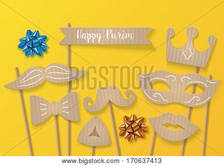 Purim Holiday Concept With Cardboard Carnival Mask, Mustache And Crown. Realistic Vector Illustratio