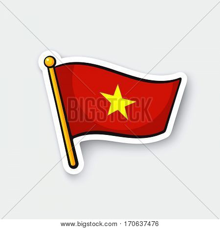 Vector illustration. Flag of Vietnam on flagstaff. Location symbol for travelers. Cartoon sticker with contour. Decoration for greeting cards posters patches prints for clothes emblems