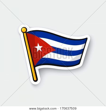 Vector illustration. Flag of Cuba on flagstaff. Location symbol for travelers. Cartoon sticker with contour. Decoration for greeting cards posters patches prints for clothes emblems