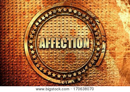 affection, 3D rendering, text on metal