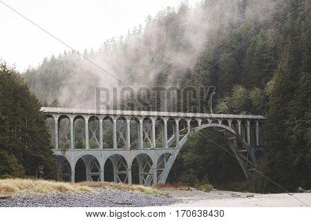 Gothic style bridge in foggy forest mountains of the Oregon coast. Heceta Head Lighthouse area Oregon USA.