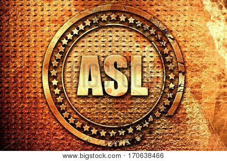 ASL, 3D rendering, text on metal