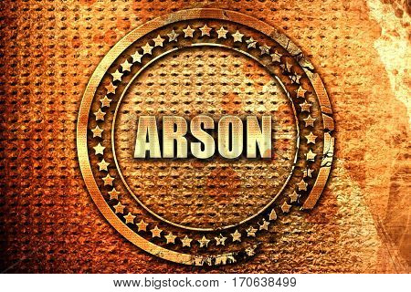 arson, 3D rendering, text on metal