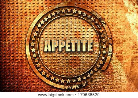 appetite, 3D rendering, text on metal