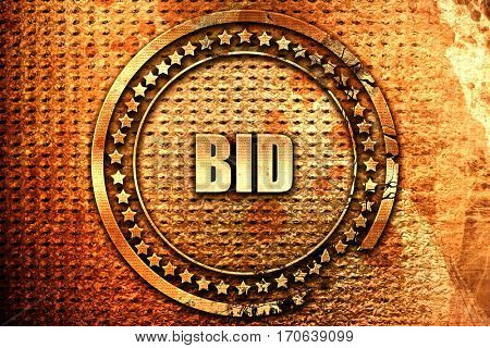 bid, 3D rendering, text on metal