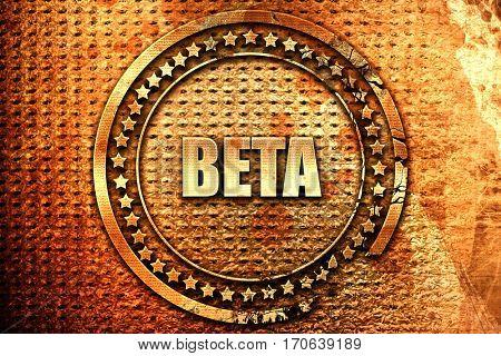 beta, 3D rendering, text on metal