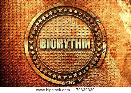biorythm, 3D rendering, text on metal