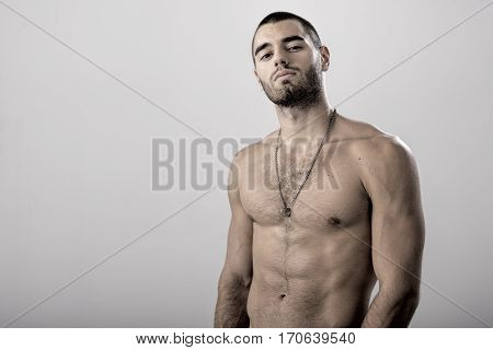 Shirtless Strong Athletic Sexy Muscular Male Model on White Background