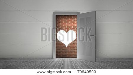 Digitally generated image of open door to brick wall and heart shape