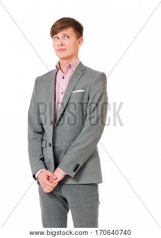 Embarrassed young man looking away for shyness, shame or humiliation, isolated on white background.