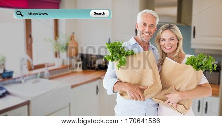 Composite image of smiling couple in kitchen holding grocery bags