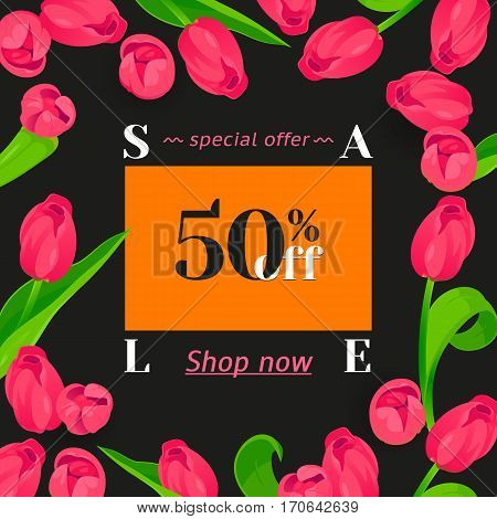 Festive frame decorated with pink tulips. Limited offer 50 percent off. Special design for Mother's day, 8 March and Easter.