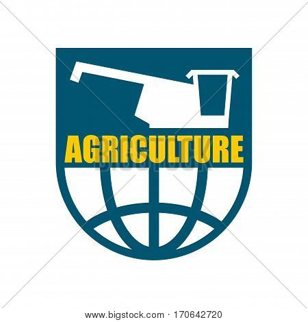 Agriculture Logo. Harvest Emblem. Combine Harvester And Earth. Farm Sign
