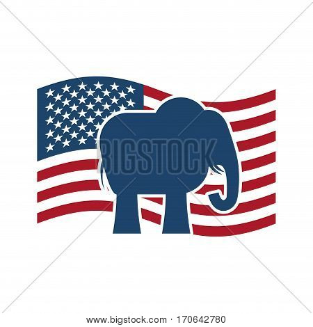 Republican Elephant And  Us Flag. Political Party America