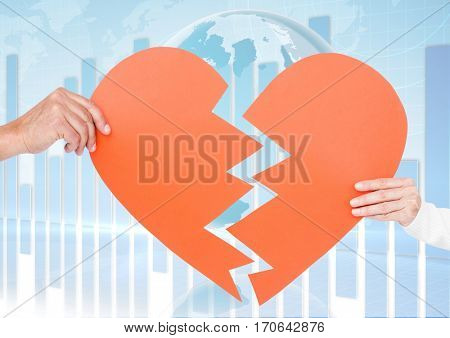 Composite images of couple holding a broken heart with globe and diagram in background