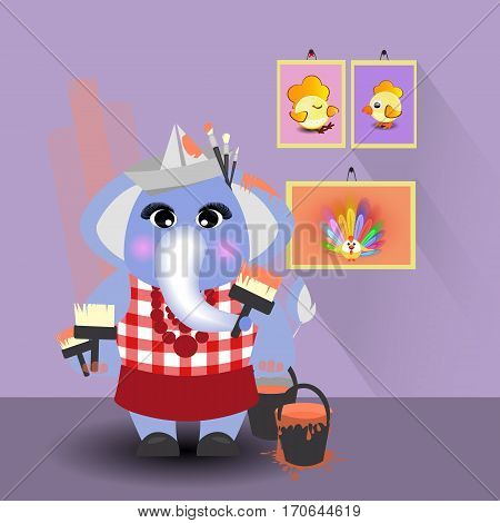 elephant paints the wall. children s illustration. is used to print, website, smartphone, design, textiles, ceramics, fabrics prints postcards packaging etc