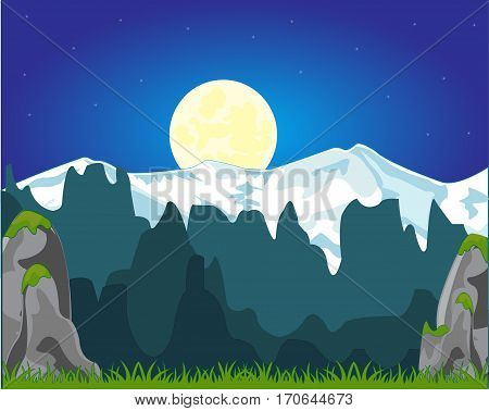 Colorful landscape of the high mountains and moon night