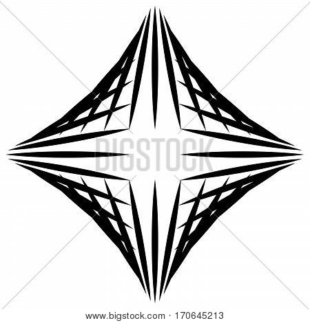 Squarish Geometric Graphic Made Of Pointed Lines. Edgy Geometric Pattern Of Random Intersecting Stra