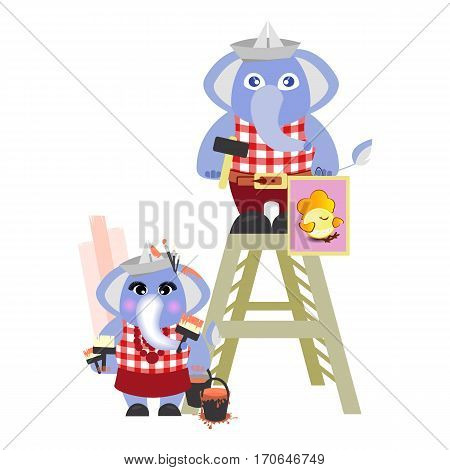 elephant and the elephant in the header of the builder of the newspaper on a white background. children s illustration. is used to print, website, smartphone, design, textiles, ceramics, fabrics, prints, postcards, packaging, etc.