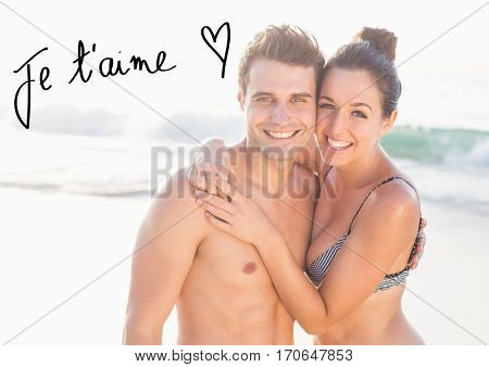 Composite image of couple embracing each other and valentine text