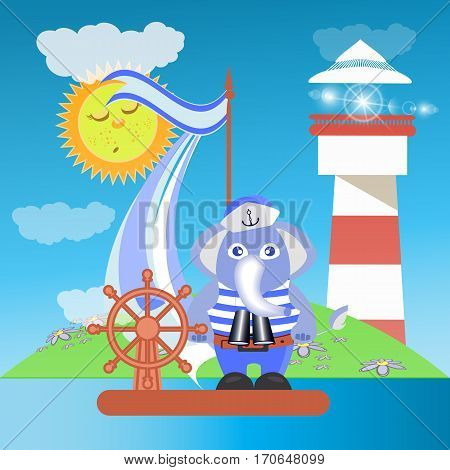 Elephant on the ship at sea with the lighthouse. children s illustration. is used to print, website, smartphone, design, textiles, ceramics, fabrics, prints, postcards packaging etc