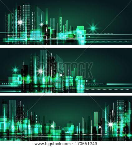 Abstract Night City Skyline, Vector Illustration