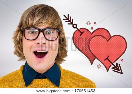 Portrait of surprised hipster businessman against grey background