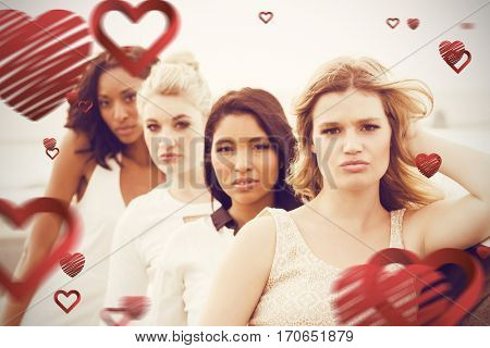 Portrait of female friends posing while leaning on limousine against love heart pattern