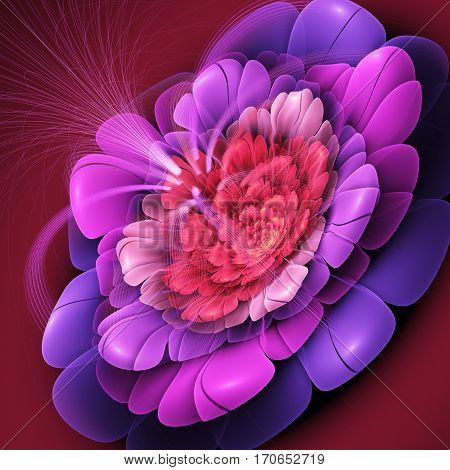 Exotic flower with large petals. 3D surreal illustration. Sacred geometry. Mysterious psychedelic relaxation pattern. Fractal abstract texture. Digital artwork graphic astrology magic