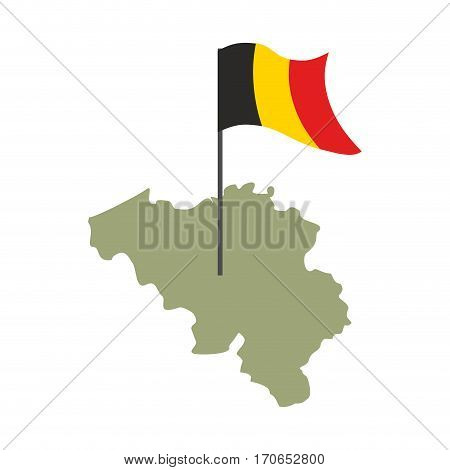 Belgium Map And Flag. Belgian Banner And Land Territory. State Patriotic Sign