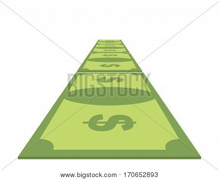 Road Out Of Money. Wealth Path Of Cash. Dollar Path