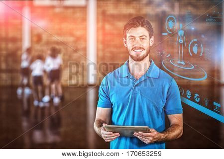 Fitness interface against portrait of sports teacher using digital tablet