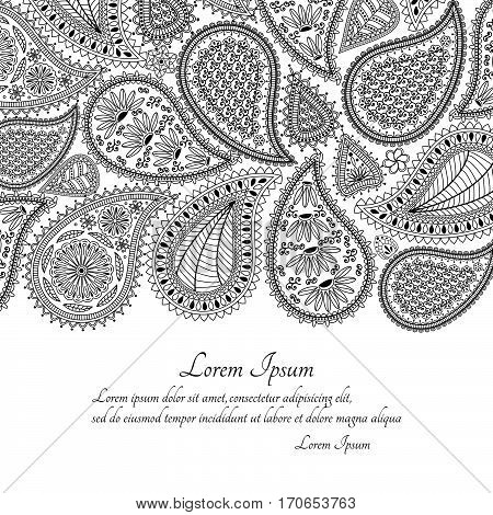 Greeting card or template with paisley ornament. Vector illustration.