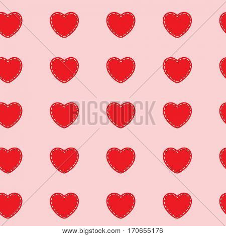 Red Hearts Stitched white on a pink background. Abstract seamless pattern. illustration.